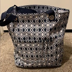 Navy & White Tall Tote
